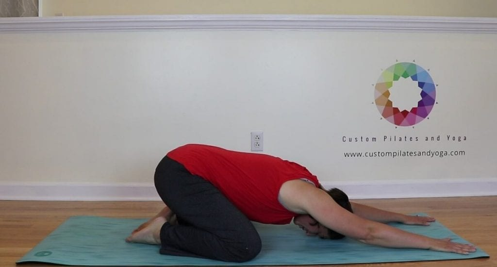 yoga child's pose to stretch the back